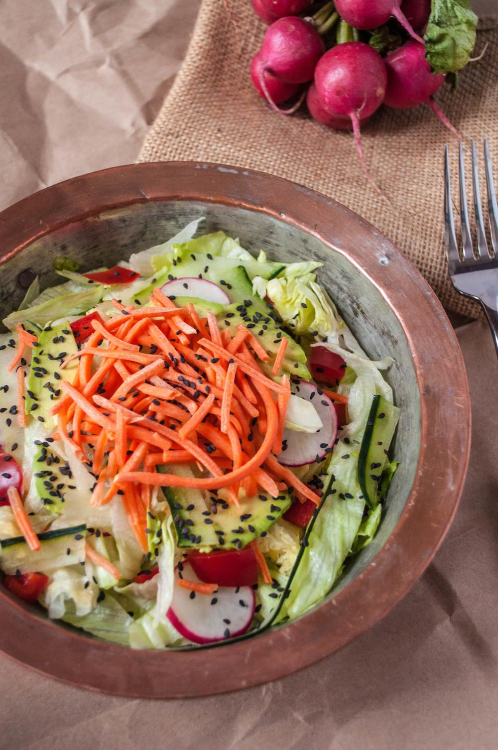 Vegan Thai Salad with Spicy Cashew Dressing