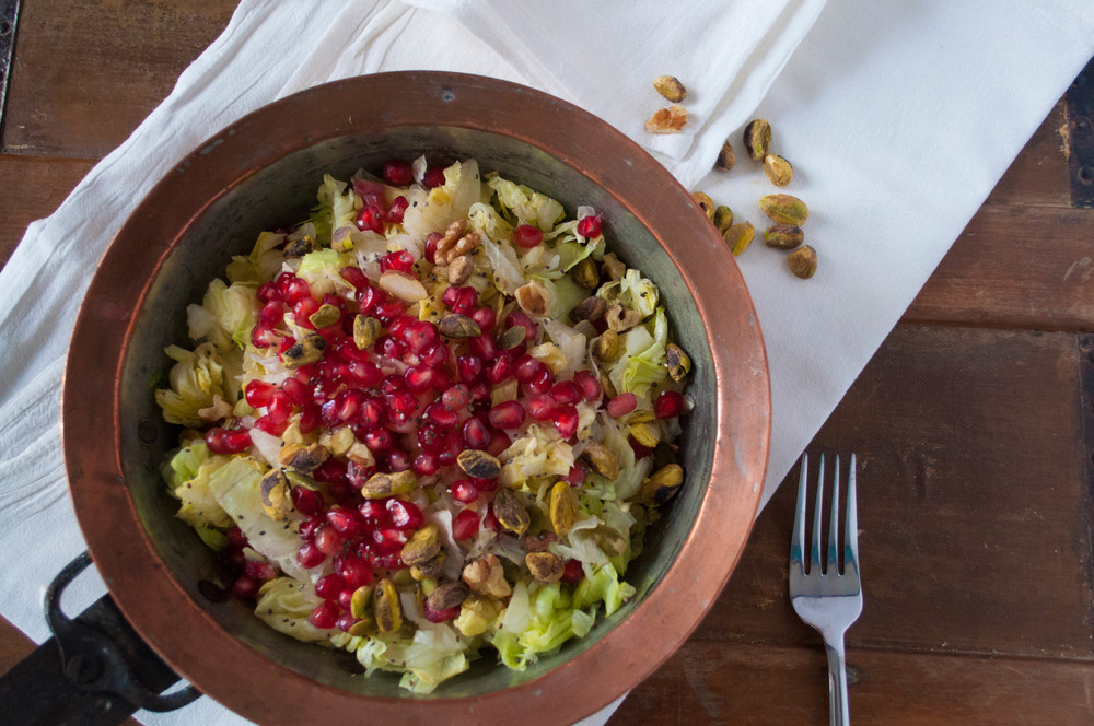 Healthy Moroccan Spiced Pomegranate Salad with Tahini Dressing