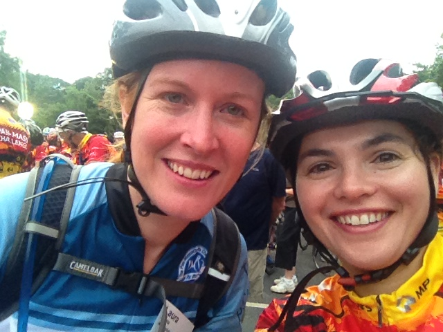 Laura (left) and Susan (right) biking the 2014 PMC