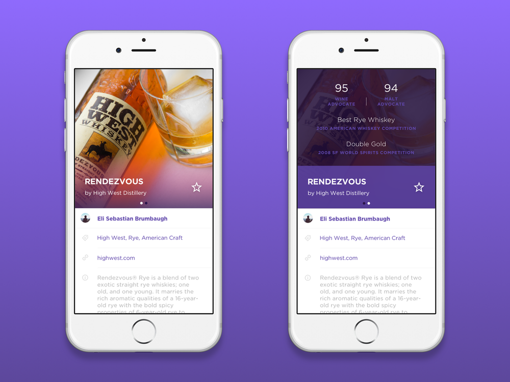 Whiskey Adventurer, is a fun design exploration featuring one of my favorite whiskey brands High West. Setting out my goal was to create a UI that would allow users to browse, favorite, learn more about and recommend whiskies.