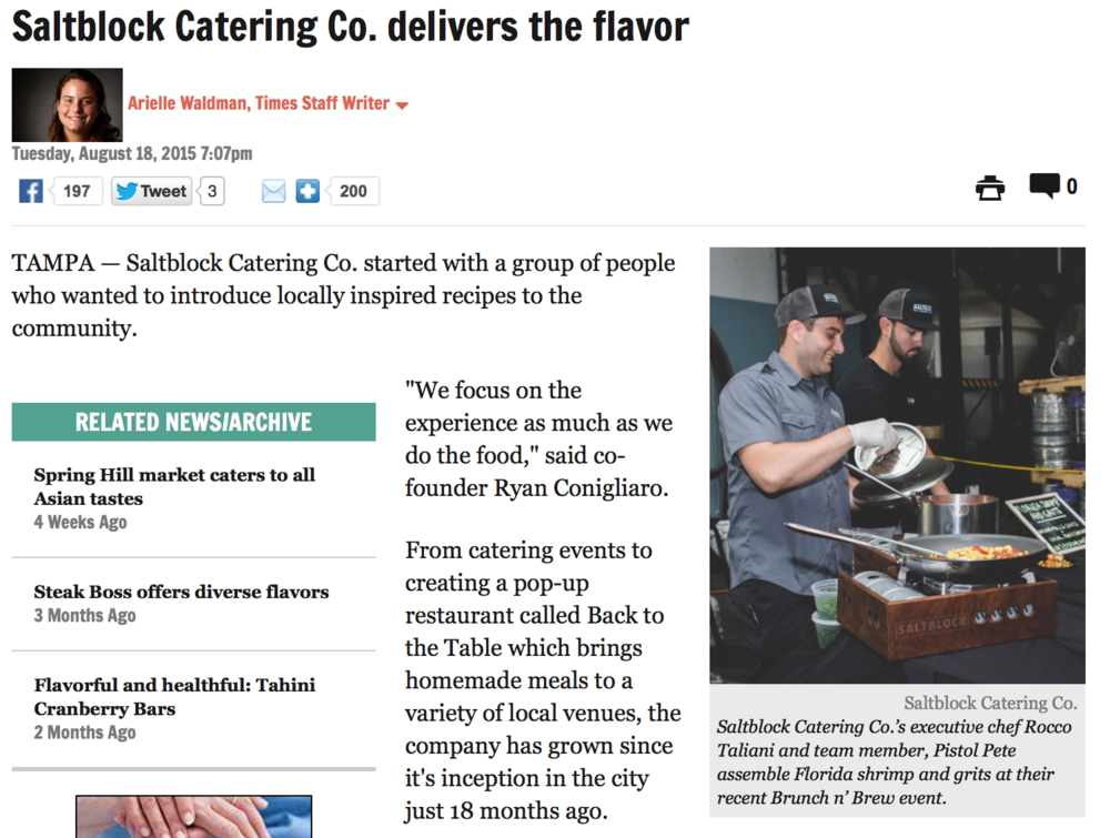 Recent Saltblock feature in the Tampa Tribune.   Click to read more.