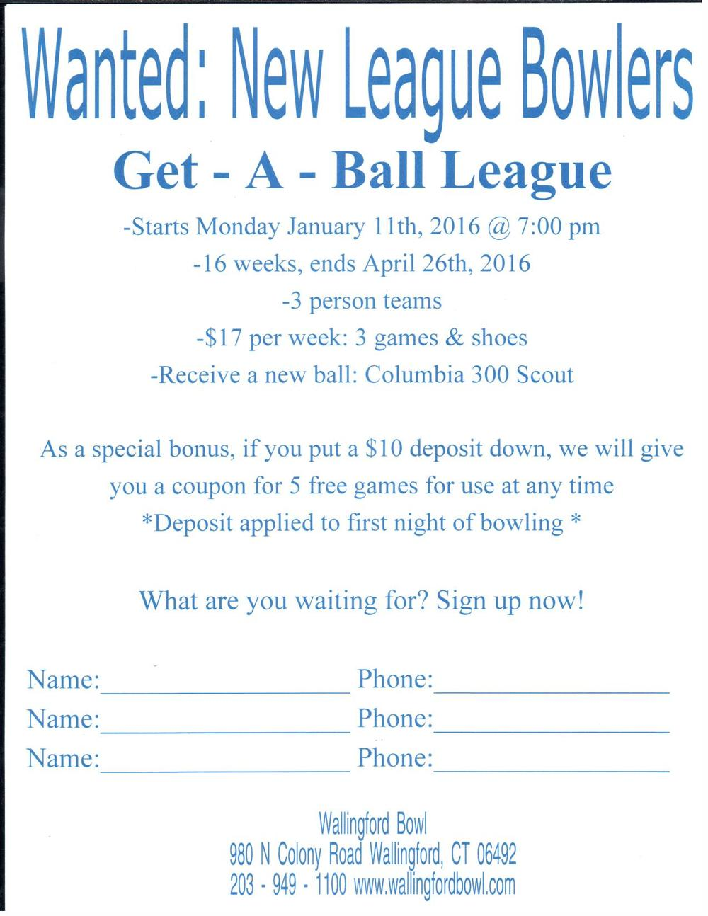 Sign up for our new league starting in January. If you have any questions or want more information please contact us at 203 949 1100