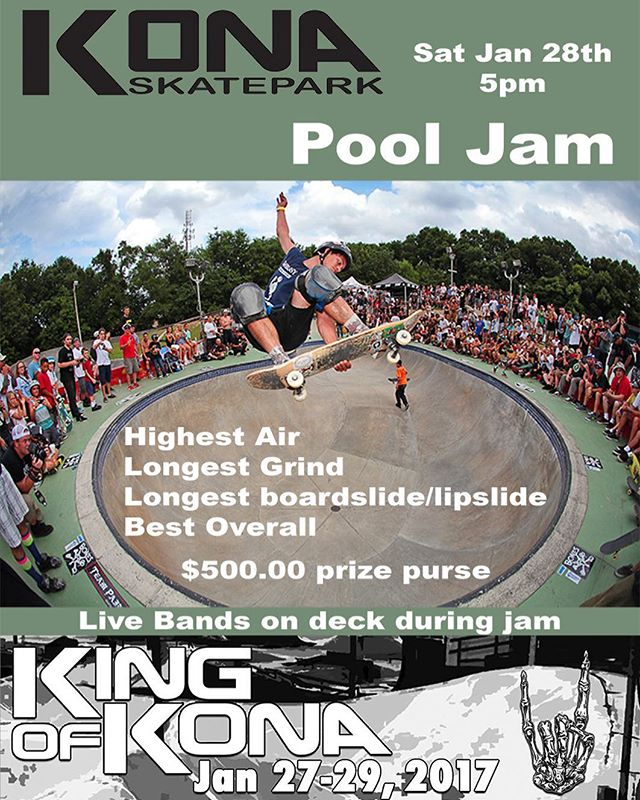 Saturday's bowl jam is going to be off the hook! We're expecting a good mix of locals and out of towners to be stopping by for our Saturday night festivities! Even if you don't skate transition you'll want to watch this one. #kingofkona #kingofkona2017 #konaskatepark
