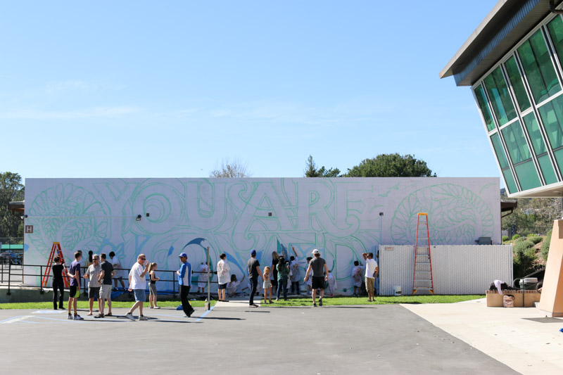 Lots of volunteers for a huge wall at Berkeley Hall School, Los Angeles, CA