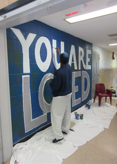 YOU ARE LOVED mural in process at Bridgewater State Hospital, Bridgewater, MA