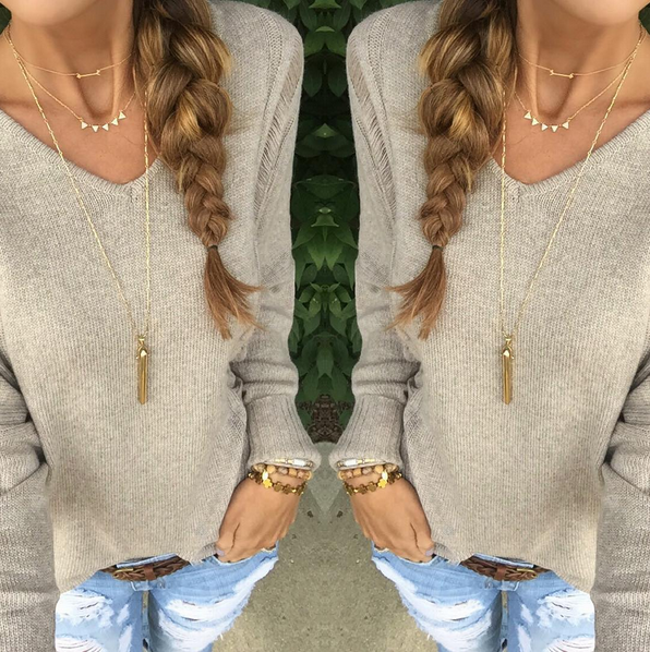 stella & dot's On the mark necklace, one piece of the Pavé chevron necklace and the rebel pendant - gold. photo credit: Jena green