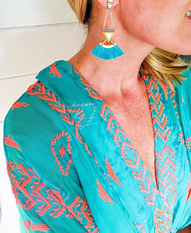 What's fringe, turquoise and stunning? The Lotus Chandeliers from Stella & Dot. Source: Stella & Dot