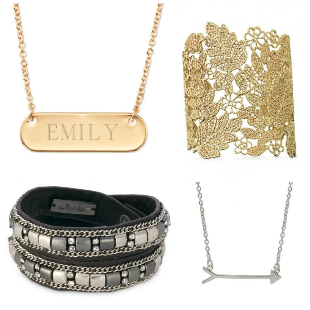 Signature engravable bar necklace - gold, chantilly lace cuff, cady wrap bracelet - silver, on the mark necklace - silver