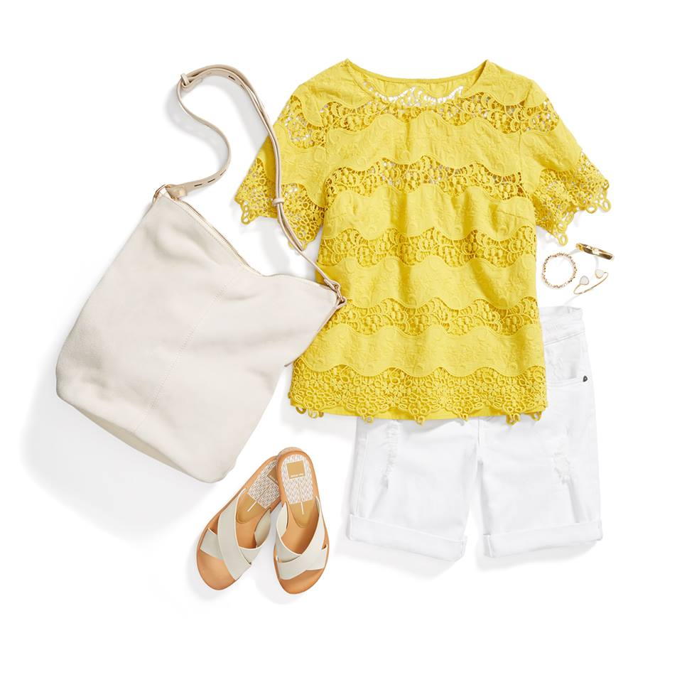 Got that sunshine in your outfit? Add electricity into your look with canary yellow & haute white. All items shown are available from Stitch Fix.