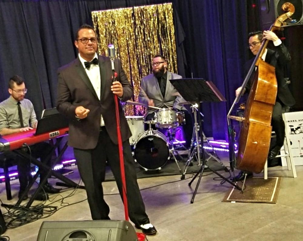 Michael Sinatra with the Dani Ahndrec Jazz Trio a charity fundraiser event.