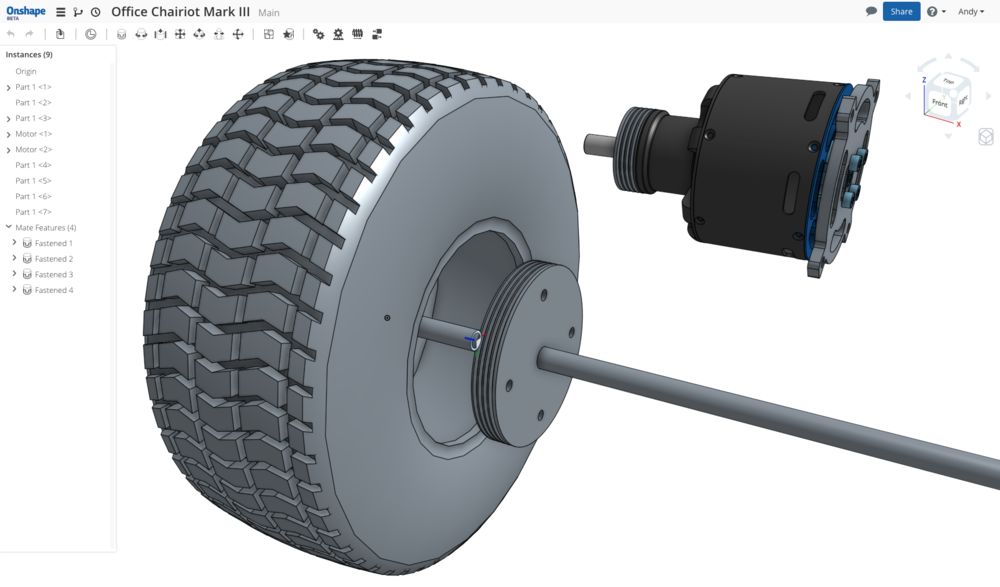 Positioning wheels, pulleys and motors on the Office Chairiot Mark III design in Onshape