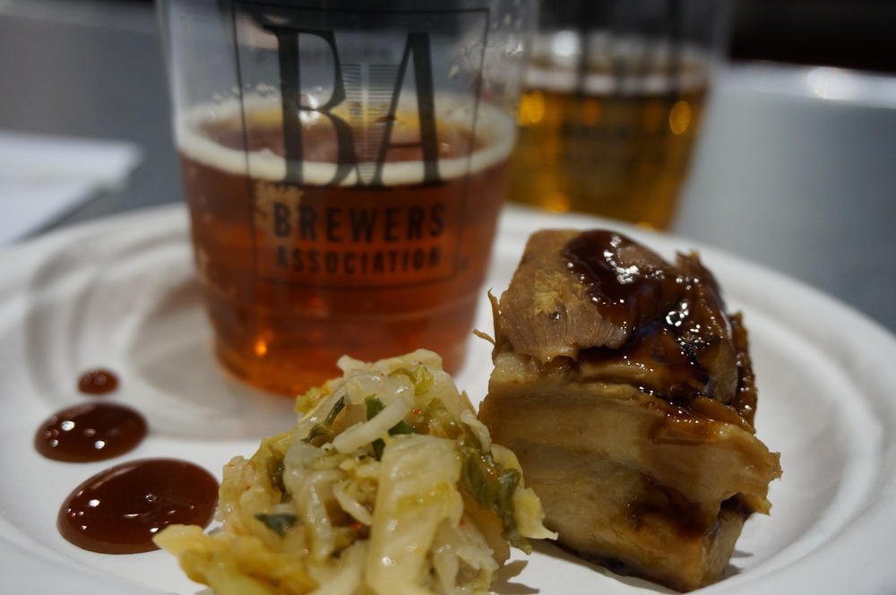 Pork Belly and homemade kimchi with Dalels Pale Ale from Oskar Blues