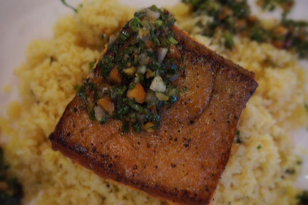 Seared Ora King Salmon, Brown Butter Couscous with Hazelnuts | Hazelnut Brown Ale