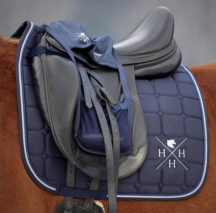 House of Horses Stirrup Bag and saddle pad in navy color.