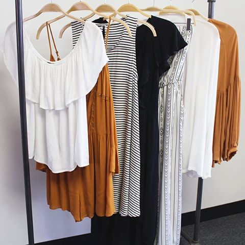 Have you tried on any of our knit dresses in stripes, solids and pops of color? You're 4 seconds away from looking incredibly cute (and feeling super comfy, too)! #kinsleyspring2016 #kinsleyshop #monochromatic #dressupdressdown #thekinsleynewandnow