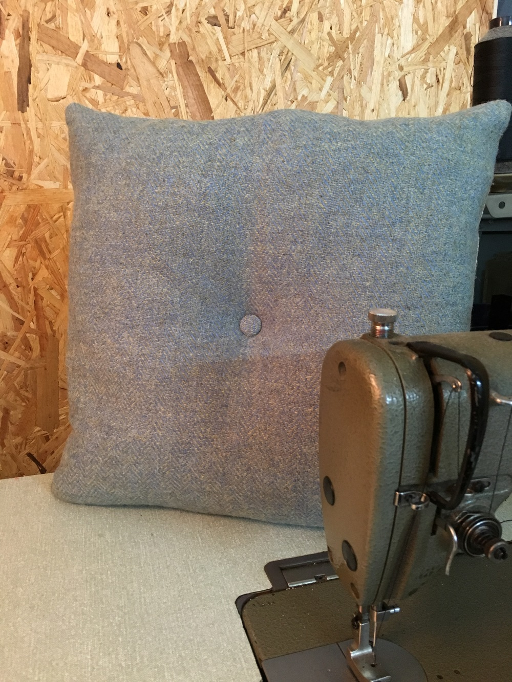 Harris Tweed Cushion, Blue Herringbone