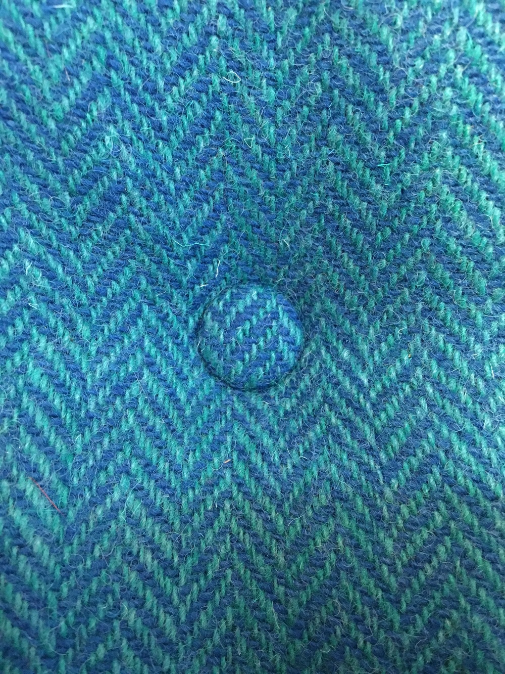 Harris Tweed Cushion, Turquoise Herringbone