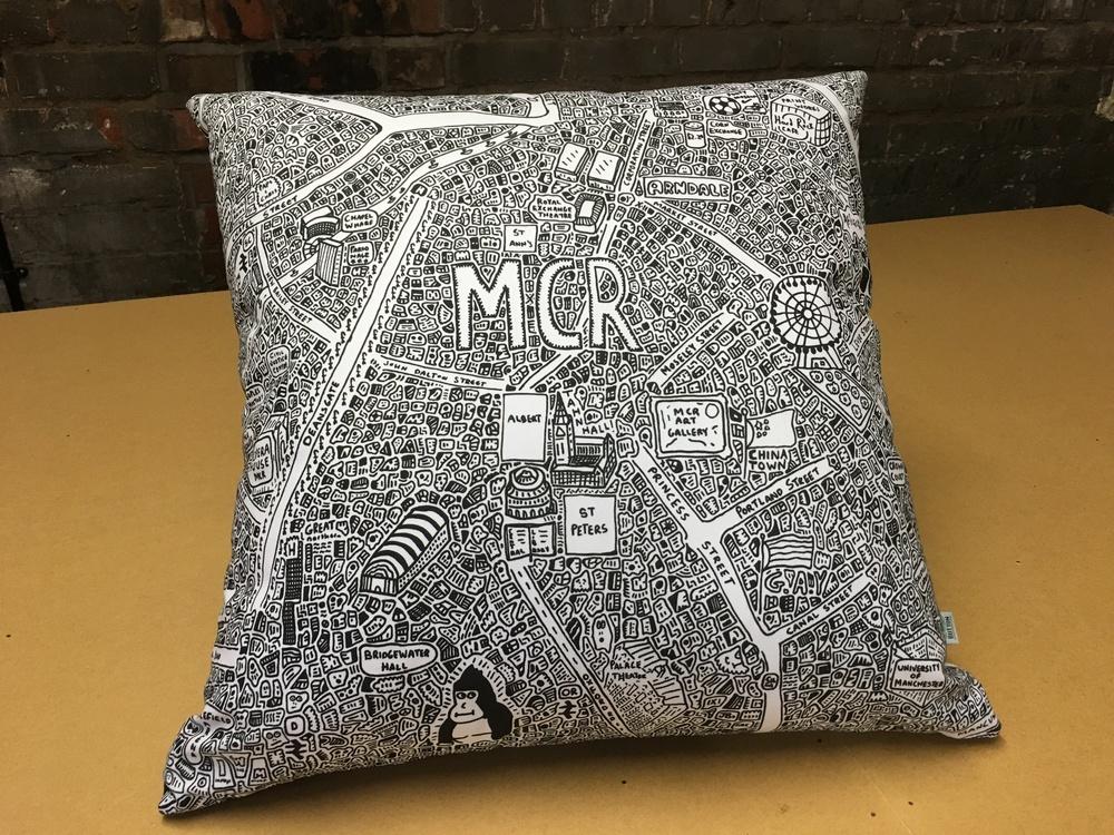 Doodle Map Cushion Large