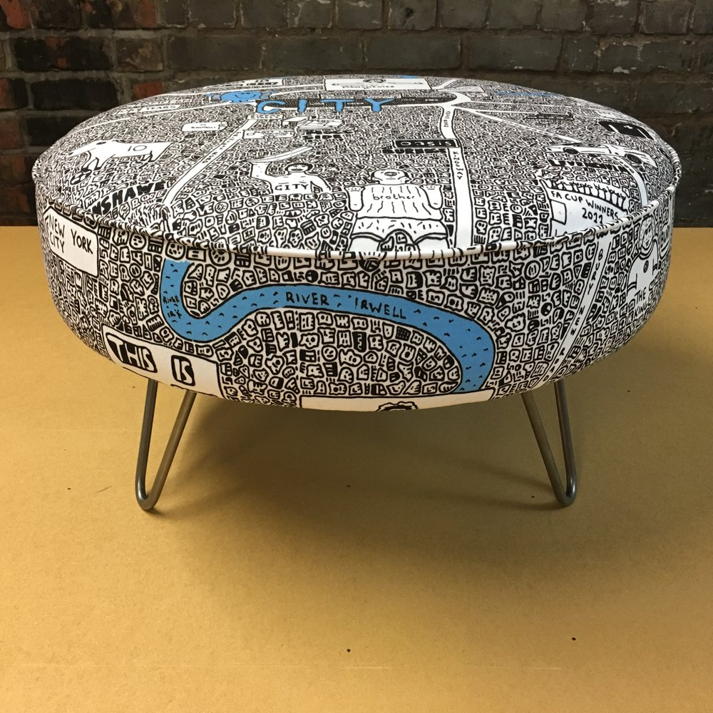 City Doodle Map Footstool