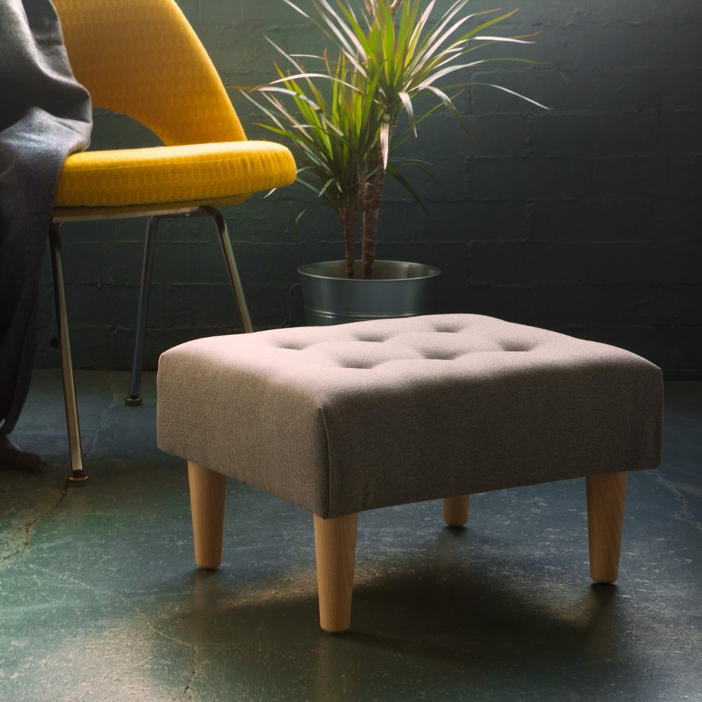 Classic Footstool Small - Our classic footstool with button detail, available in multiple colours & fabrics