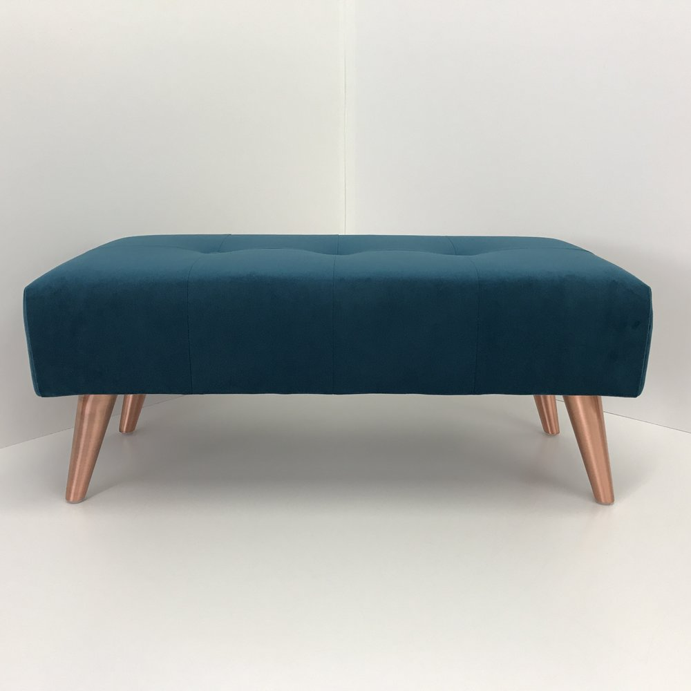 [new] Footstool with copper legs - Our new tapered legs are a perfect match on this footstool design