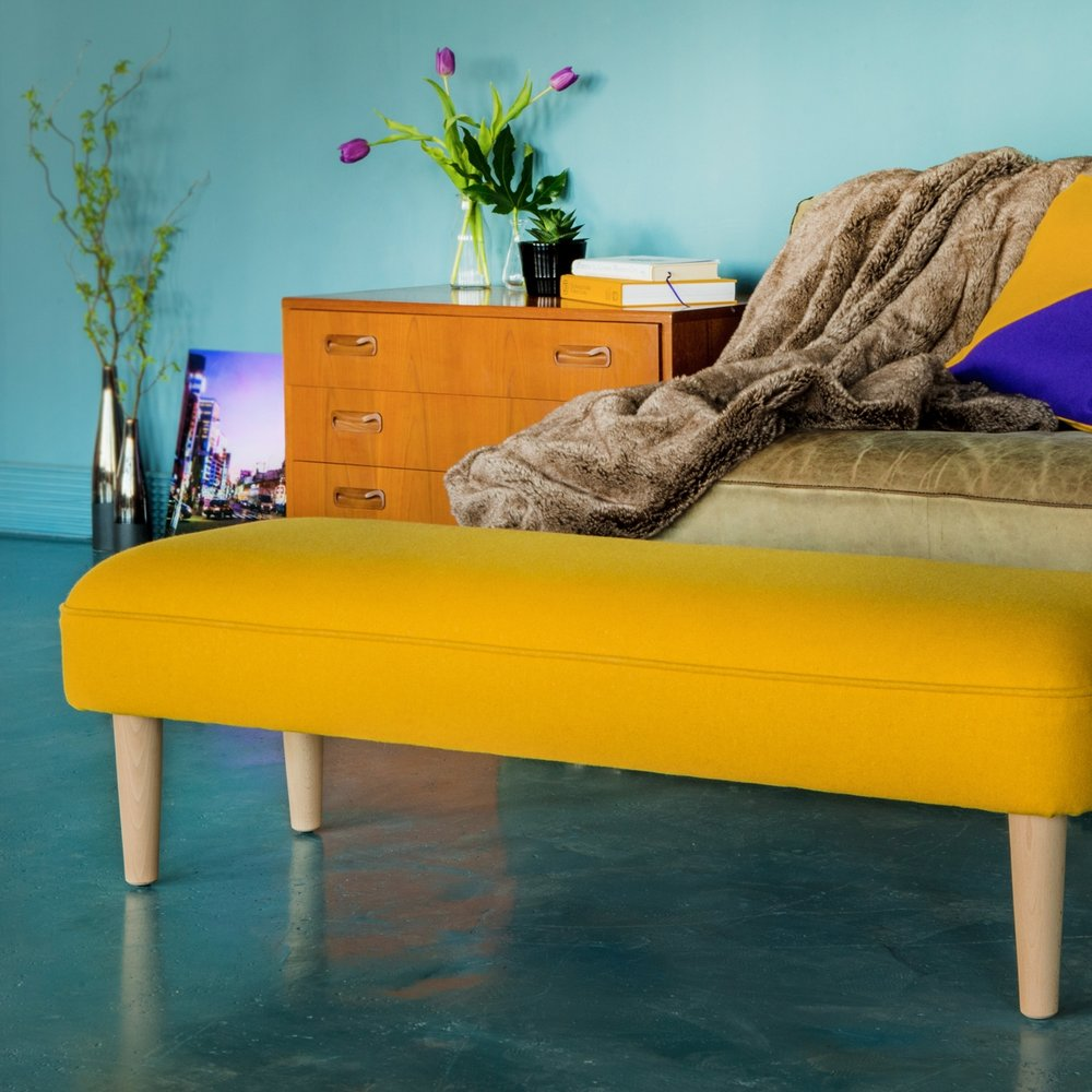Mid-Century Footstool - Made wider so you can share!