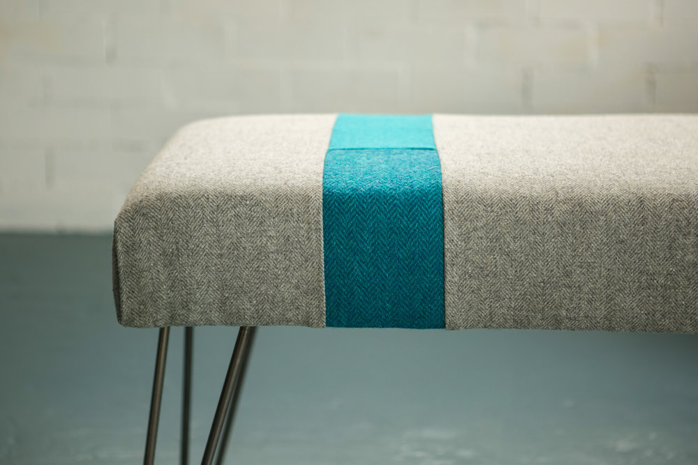 Colour Block Bench - Add bold stripes of colour with our hairpin leg panel bench