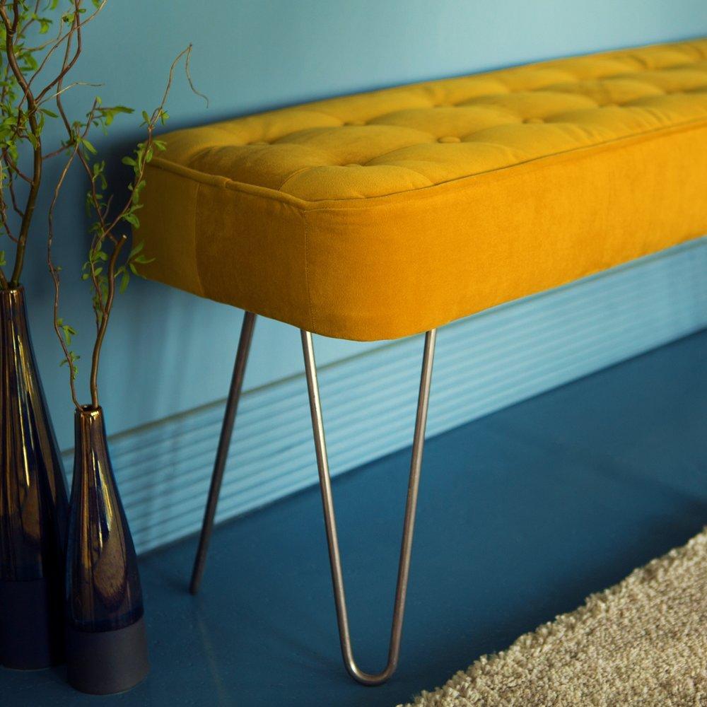 Hairpin Leg Panel Bench - Our mid-century styled panel bench in plush velvet