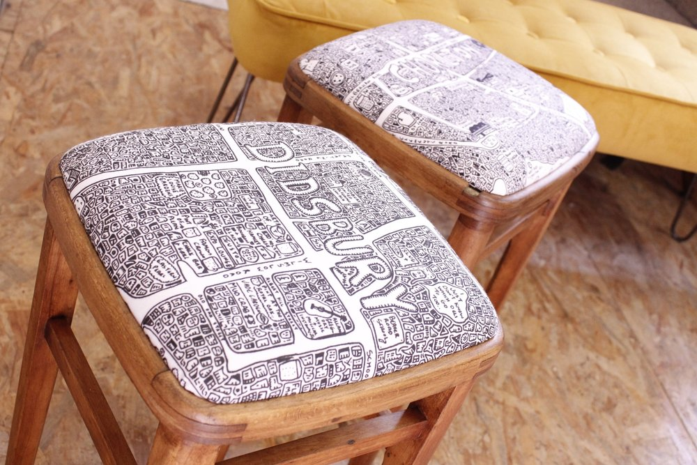 Printed doodle map re-upholstered vintage stools