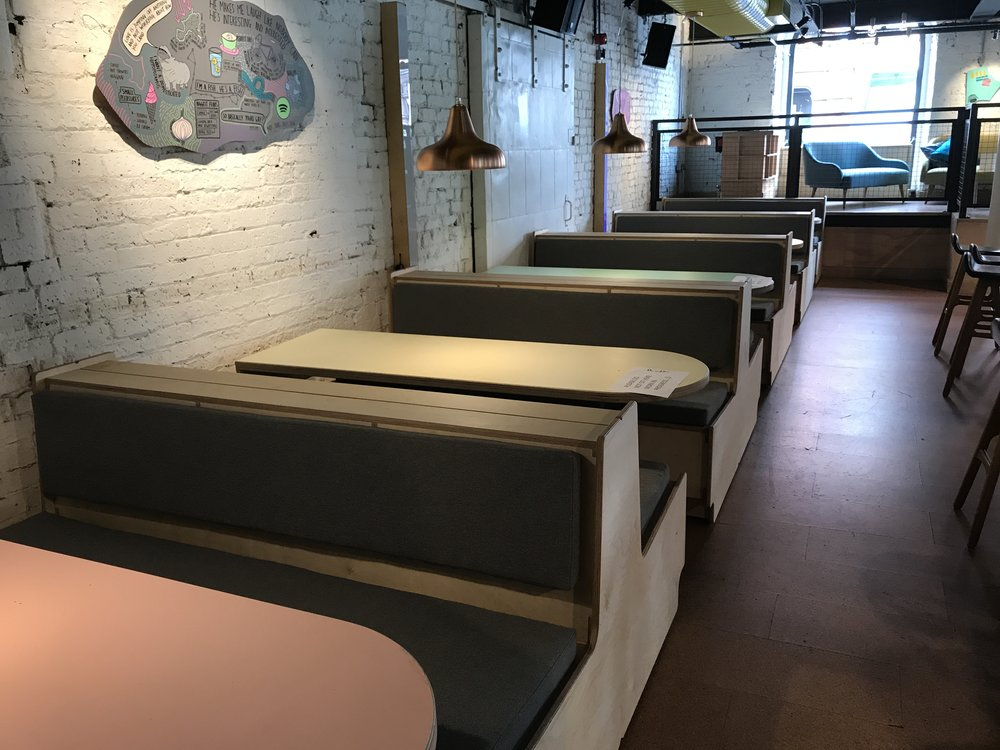 Bench Cushions for PLY - Booth seating cushions for PLY's pizza & bar in the Northern Quarter
