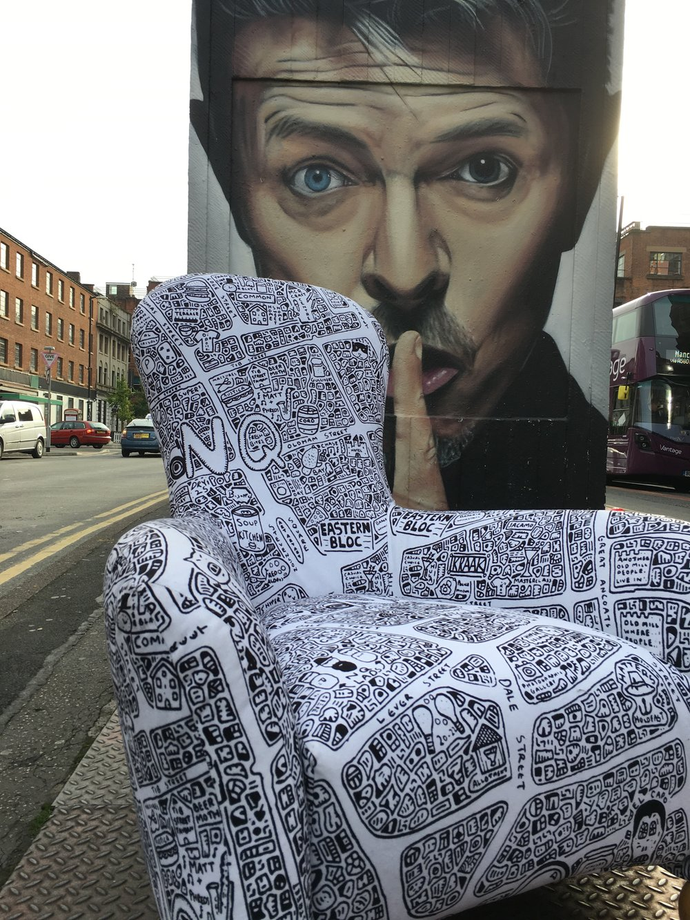 Doodle Map Chair - Printed on a soft tough moleskin upholstery grade fabric