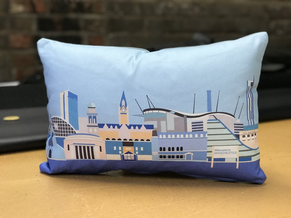 Man City Skyline - We produce these for Man City Gifts.  A design by Sue Scott, a Manchester artist.