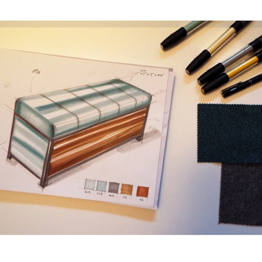 Bespoke Designs - Initial sketches of a bespoke ottoman bench