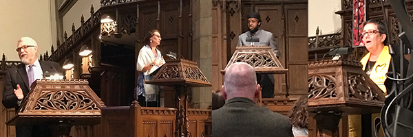 From left to right:  Rev. Tim Ahrens, First Congregational Church of Christ; Rabbi Jessica Shimberg, The Little Minyan Kehillah; Horsed Nooh, Director of the Abubakar Asiddiq Islamic Center; Rev. Marian Stewart, First Unitarian Universalist Church of Columbus