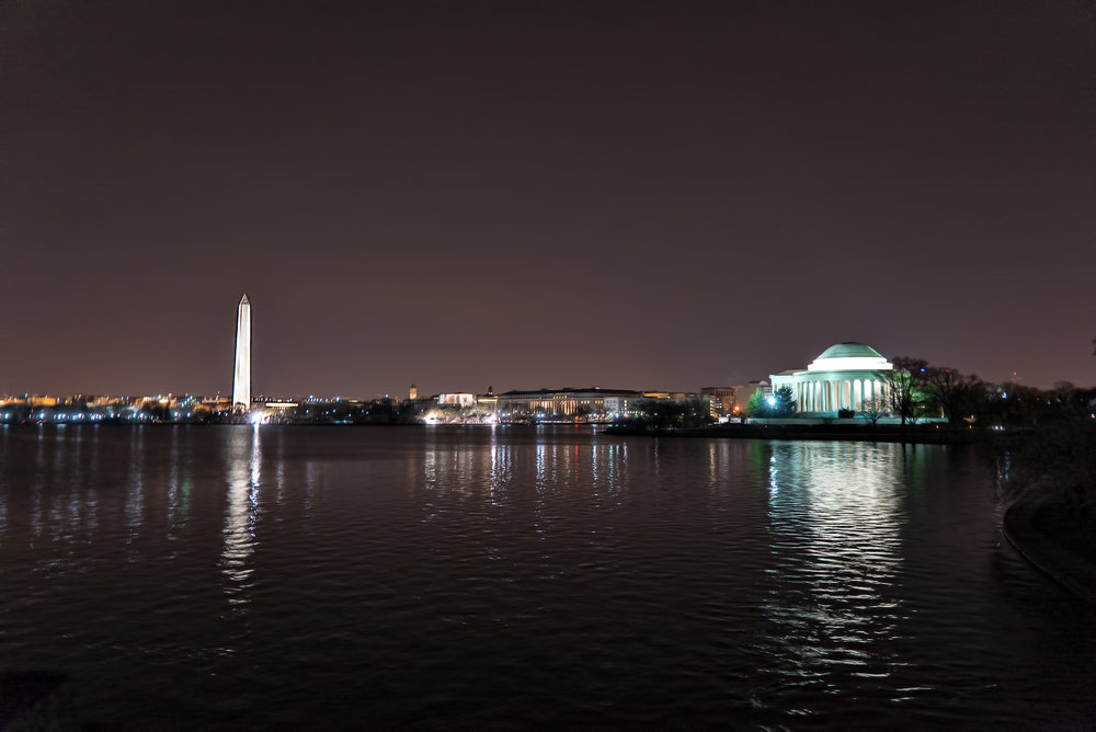 Another shot of the Washington Monument and the Jefferson Memorial but during the very early morning (nightowlesque).  #Sony A7SM2 , F/4, 1/5th, ISO 1600