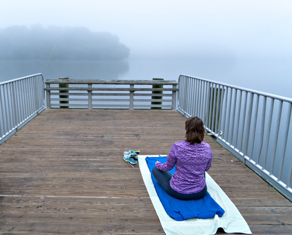 Burke Lake Park, Fog and Yoga, why not?