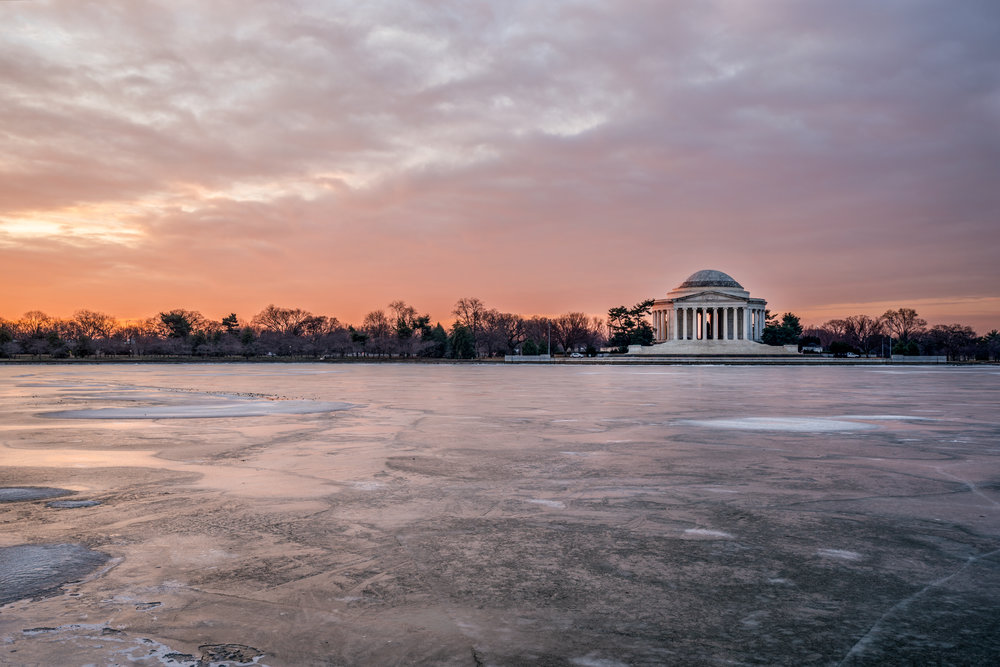Another fun shot with the Tidal Basin fully frozen with the Jefferson Memorial at first light with those lovely morning colors.