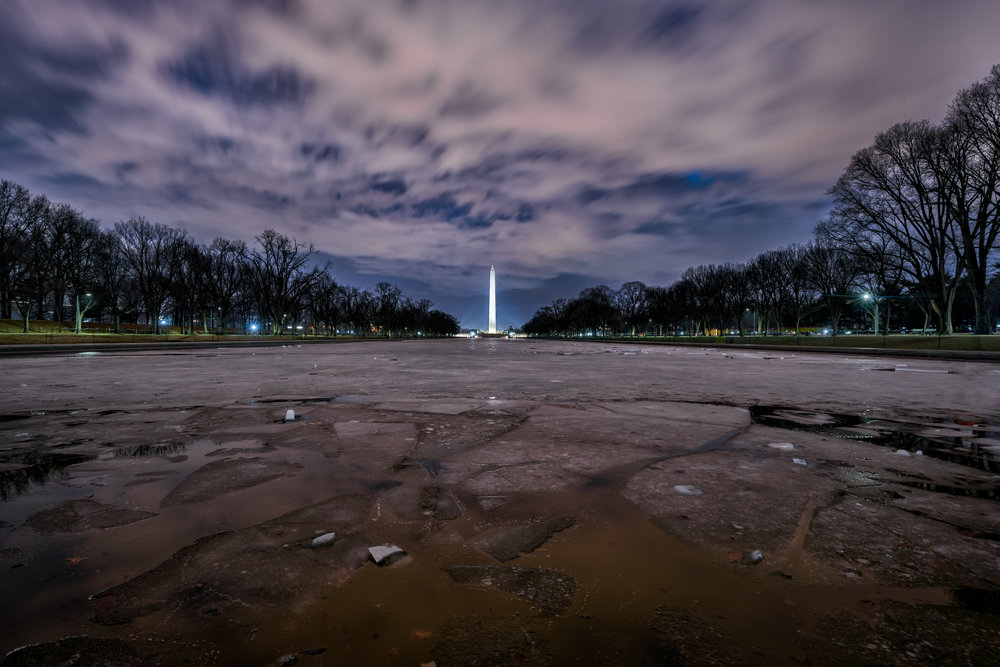 A little further down the reflecting pool where you can see where the ice is starting to break up.  Taken from in front of the Lincoln Memorial at the bottom of the steps right by the reflecting pool and a super low angle.