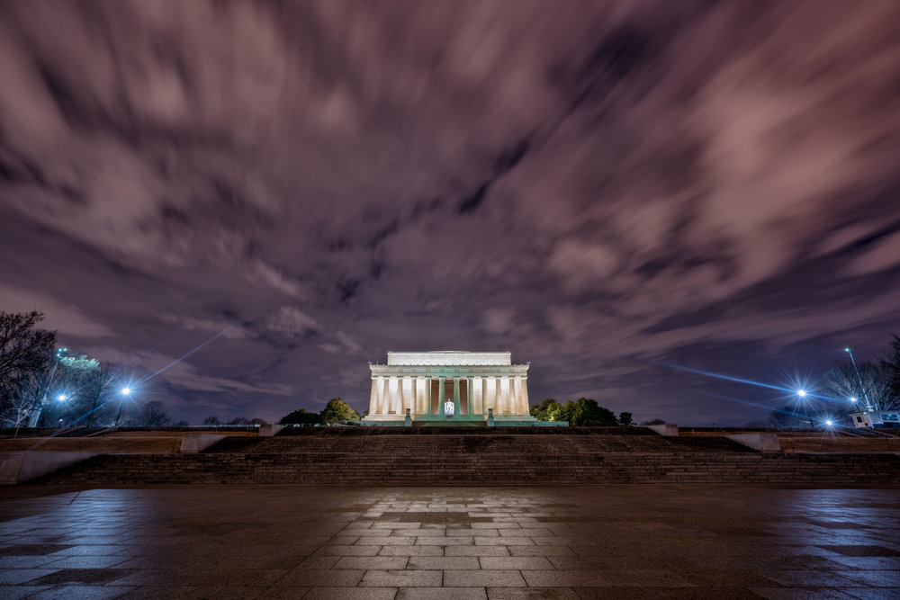 As i was walking up to the Lincoln Memorial the clouds were moving and opening in a few spots to show the blue early morning sky so had to try and frame it the best I could and try and show some of that movement from the clouds.