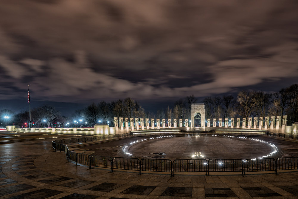 This was almost a throw away image for me because of the railing in place in the monument but I did like the texture in the sky and how the WWII Memorial looks at night with the ring of lights from the fountain and after my 5 minute normal processing I liked it even more.
