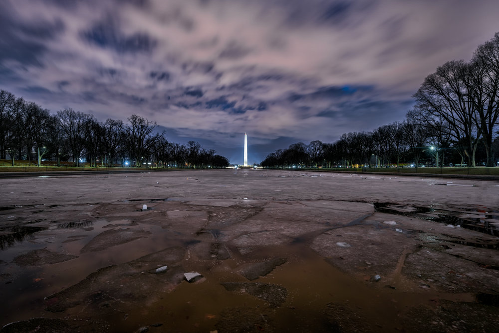 Another January image with the freezing of the reflecting pool and some amazing clouds ---- Sony A7R2 --- 6:36am -- Sony 16-35/16mm - 30sec, F/8, ISO 100, Tripod