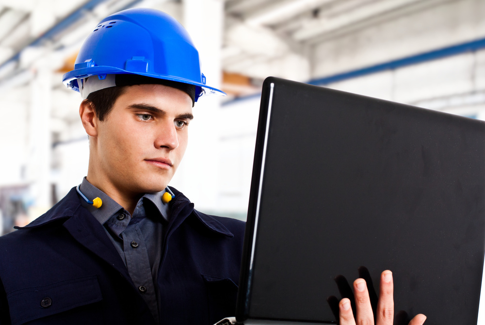 Engineer working on a laptop