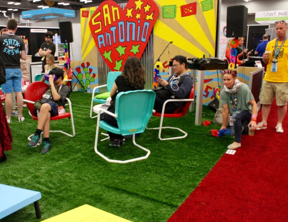 "Visitors from around the world stop by San Antonio's ""ice house"" in the SXSw trade show for a taste of life in the city"
