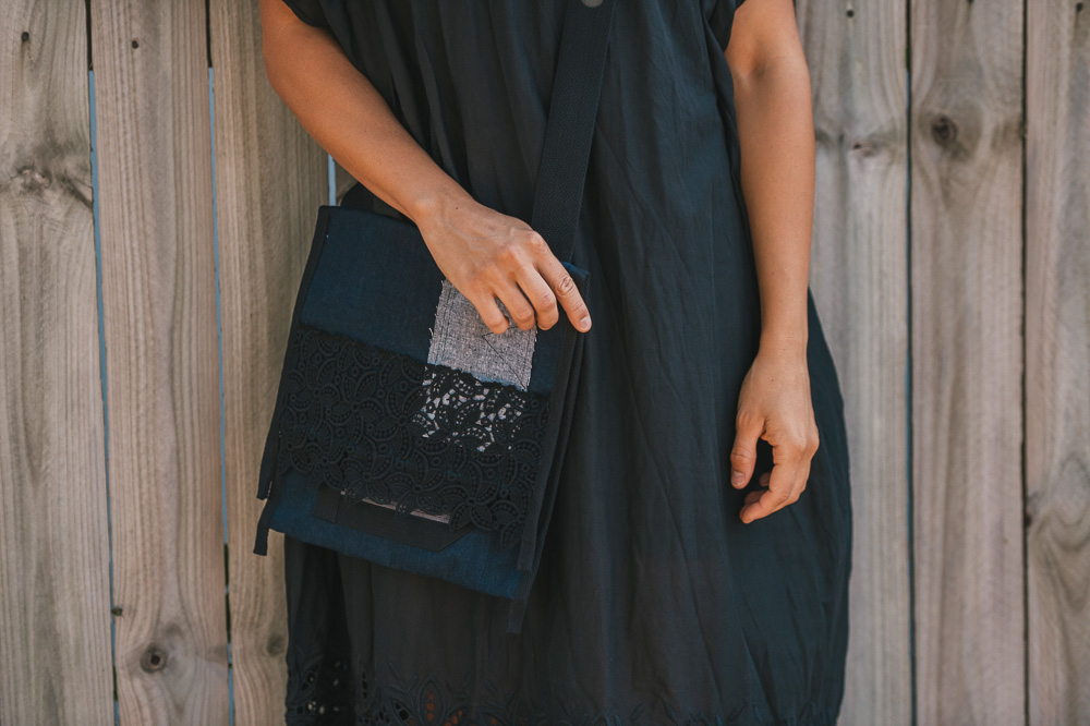 East bag in denim with cotton lace