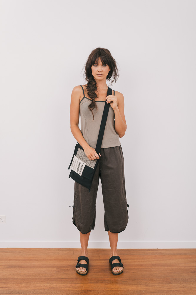Selma top in earth, Celeste pant in mineral & East bag