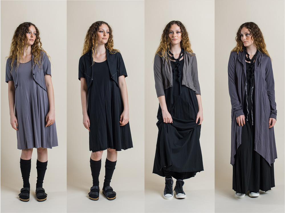 LEFT: Faith dress and Cocoon shrug (both dove) MIDDLE LEFT: Faith dress and Cocoon shrug (both black) MIDDLE RIGHT: Faith Maxi dress (black) and Ester cardi (rock) RIGHT: Faith maxi dress (black) and Annabel coat (shadow)