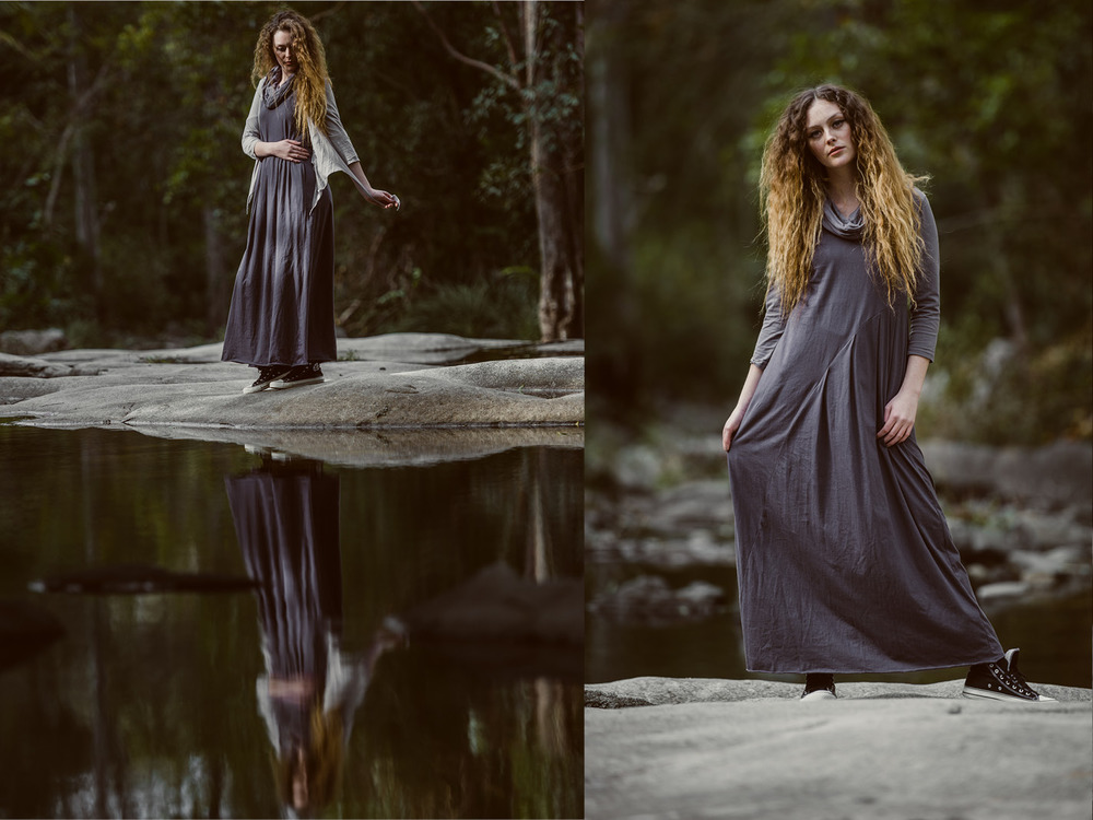 Faith maxi dress (shadow) with Robin top (dove), Quirk 3/4 shrug (ash) added in left image