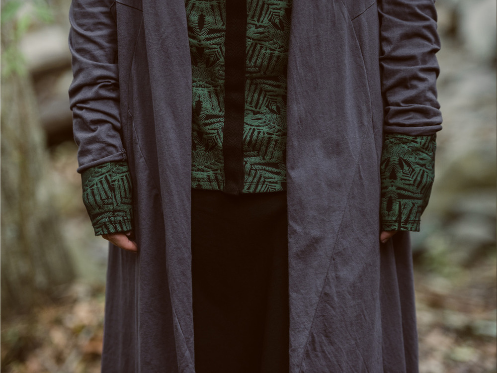 Annabel coat (shadow), Camille long cardi (fern print) and Jezabel skirt (black)