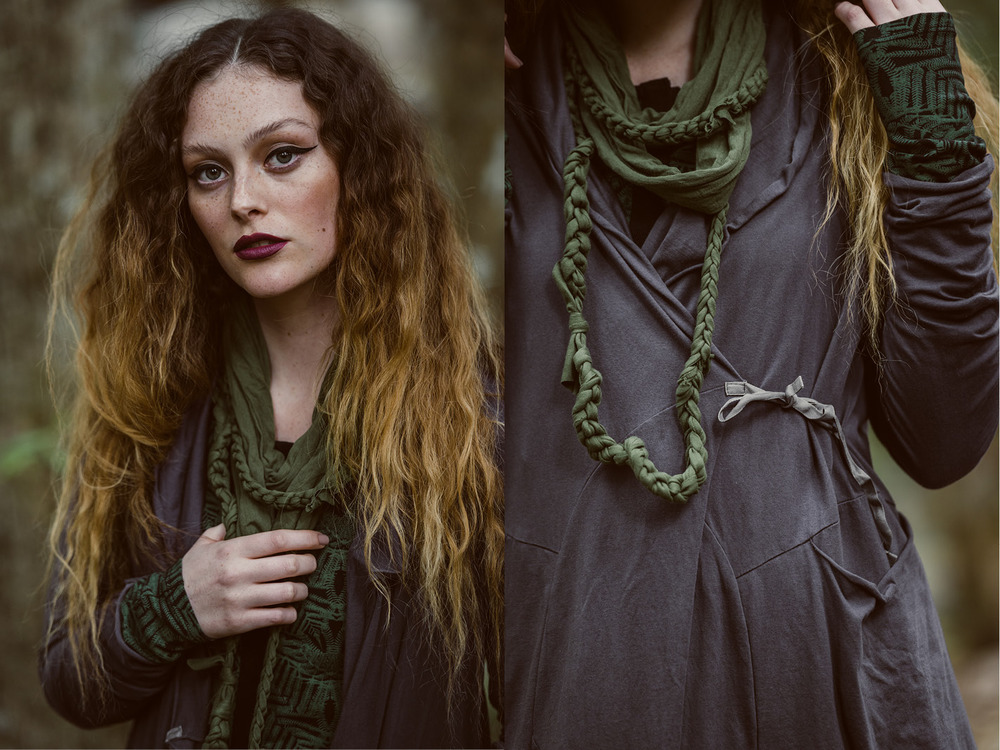 Annabel coat (shadow) with Camille long cardi (fern print), Loopy scarf (fern) and Organic Daisy chain (fern)