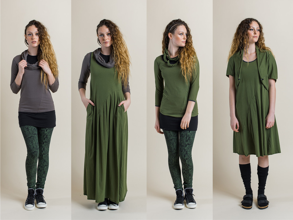 LEFT: Josie tunic (black), Robin top (rock) and Fern print legging (fern) MIDDLE LEFT: Faith Maxi dress (fern) over Josie tunic (black) and Robin top (rock) MIDDLE RIGHT: Swivel top (fern) over Josie tunic (black) and Fern print legging (fern) with Organic Daisy chain (fern) RIGHT: Faith dress (fern) with Cocoon shrug (fern)